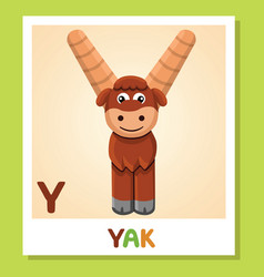 y is for yak letter y yak cute vector image vector image