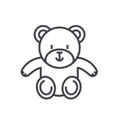 cute teddy bear line icon sign vector image