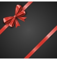 Gift realistic red bow and ribbons tilted on a vector image