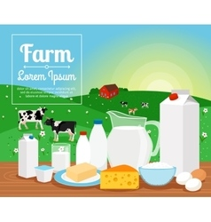 Milk farm dairy products vector image vector image