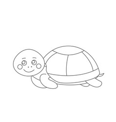 turtle for coloring book vector image vector image