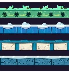 Water and ice platformer level floor design set vector