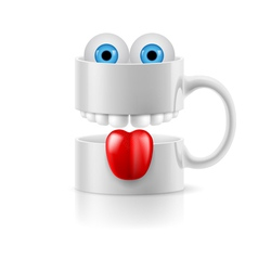 White mug of two parts with teeth tongue and vector