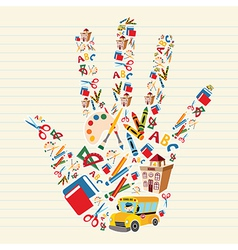 Back to school tools in hand shape vector image vector image