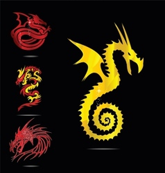 gold and red dragons emblems set vector image