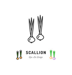 scallion icon green onion vegetables logo chives vector image vector image