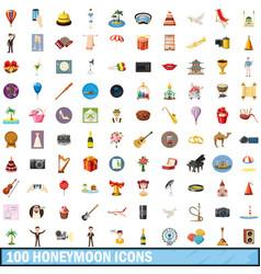 100 honeymoon icons set cartoon style vector