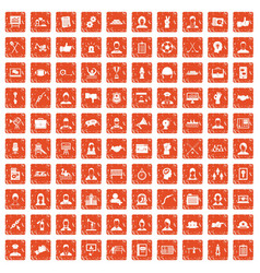 100 team work icons set grunge orange vector