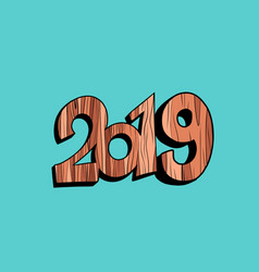 2019 happy new year wooden background vector image
