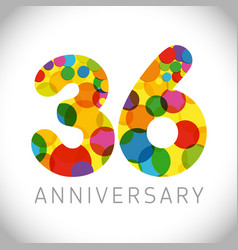 36 years anniversary circle colorful logo vector