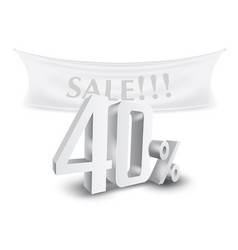 40 percent off silver sale text discount template vector image