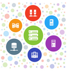 7 datacenter icons vector