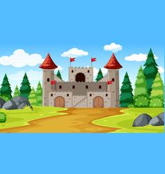 a fantasy castle background vector image