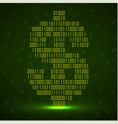 abstract sign dollar binary code with neon vector image