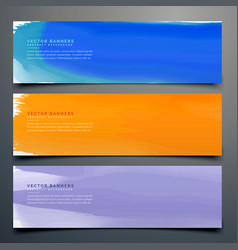 Abstract watercolor banner set in different colors vector