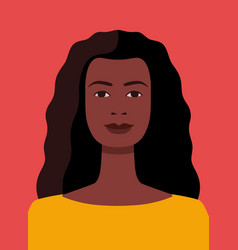 African american woman avatar on red vector