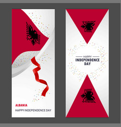 Albania happy independence day confetti vector