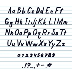 Alphabet and other symbols handwritten by ink vector image