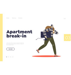 Apartment break-in concept landing page with vector