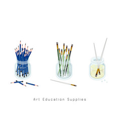 artist brushes and sharpened pencils in jar vector image