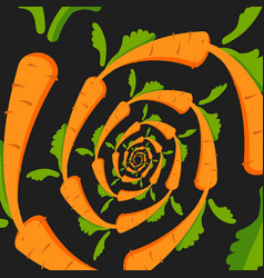 background with an orange carrot on a black vector image
