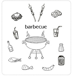 Barbecue icon doodle set vector image