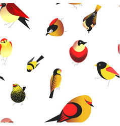 Bird different types of animals bullfinch seamless vector