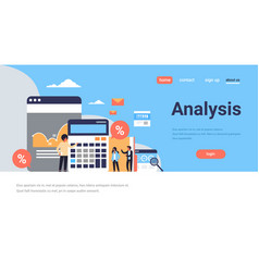 business people graph finance analysis calculator vector image