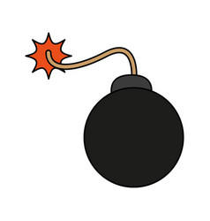 carrtoon bomb on fire vector image vector image