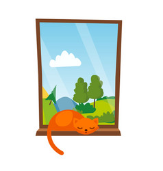 Cat sleepping on the window isolated vector