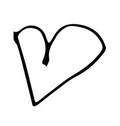 childish heart shape drawing in isolated on vector image