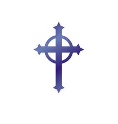 Christian cross decorative emblem heraldic design vector