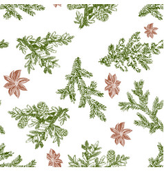 christmas seamless pattern in engraving style vector image