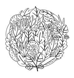 Circle shape coloring page with doodle leaves vector