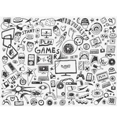 Computer games - doodles collection vector