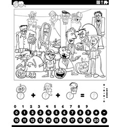 count and add game with halloween characters vector image