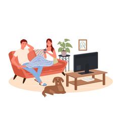 couple people watch tv film cinema movie on cozy vector image