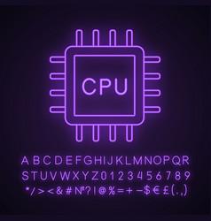 Cpu neon light icon vector