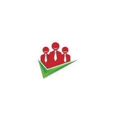 Creative three people check logo design vector