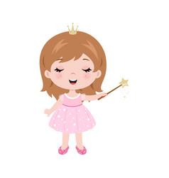 Cute little bagirl dressed as princess vector