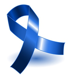 Dark blue awareness ribbon and shadow vector image