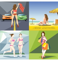 Digital girl and woman at the beach vector image