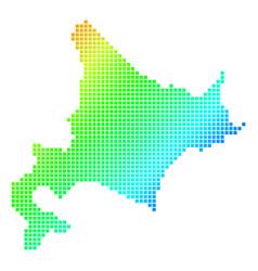Dotted pixel spectrum hokkaido island map vector