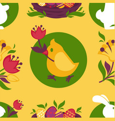 easter pattern paschal eggs bunny and chick vector image