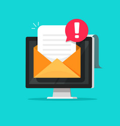 email message with spam or error alert vector image