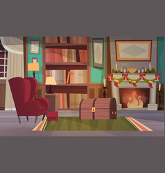Empty armchair near decorated fireplace home vector