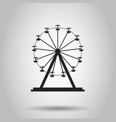 Ferris wheel carousel in park icon on isolated vector