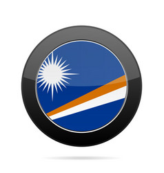 Flag of marshall islands shiny black round button vector