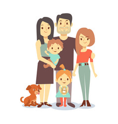 Flat family with pets isolated on white background vector