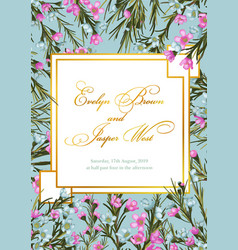 floral elegant botanical card design with blue vector image
